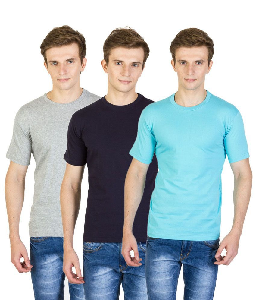 Value Shop India Pack of 3 Blue, Gray & Navy Blue Cotton T Shirts for Men