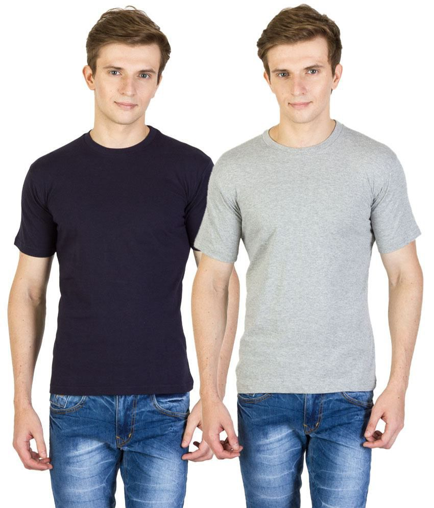 Value Shop India Pack of 2 Gray & Navy Blue Cotton T Shirts for Men