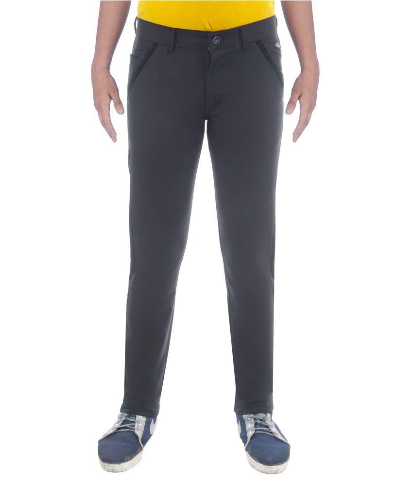 Black Deer Black Slim Fit Formal Flat Trousers