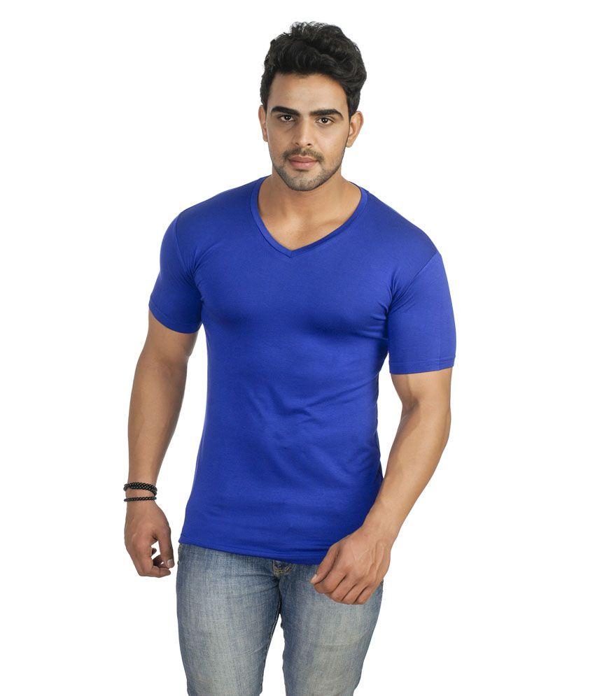 Swati Blue Cotton Blend T-shirt