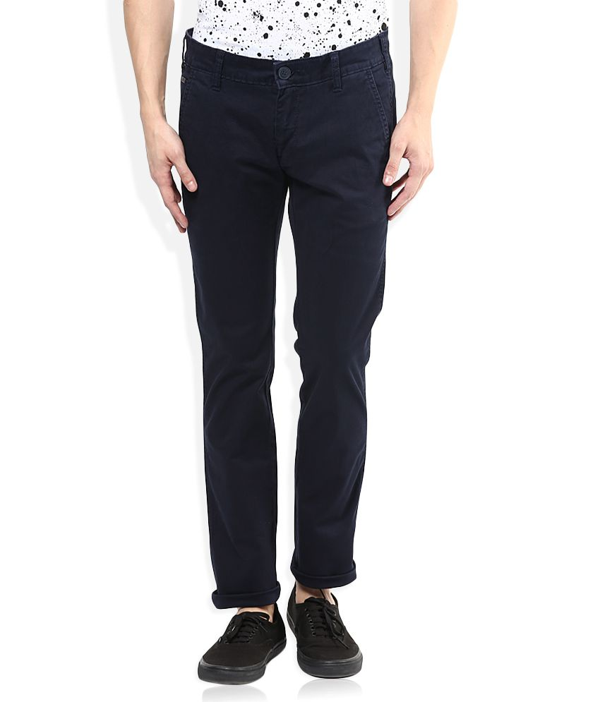 Wrangler Navy Blue Solid Flat Front Trousers