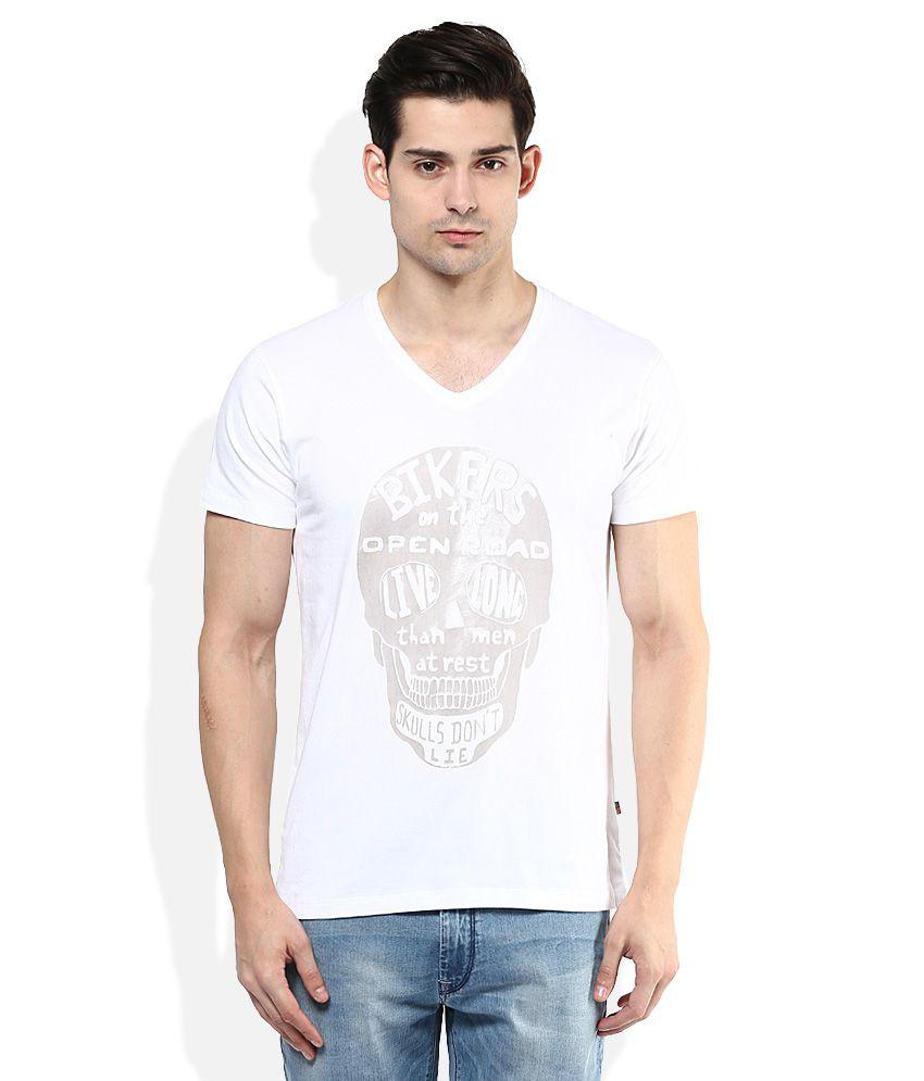 Wrangler White Printed V Neck T Shirt