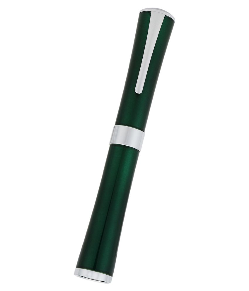 Perfect Stylish Look Green Roller Ball Pen With Silver Trim