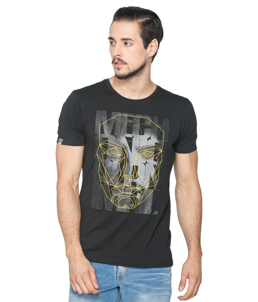 Spykar Black Cotton Blend T-Shirt