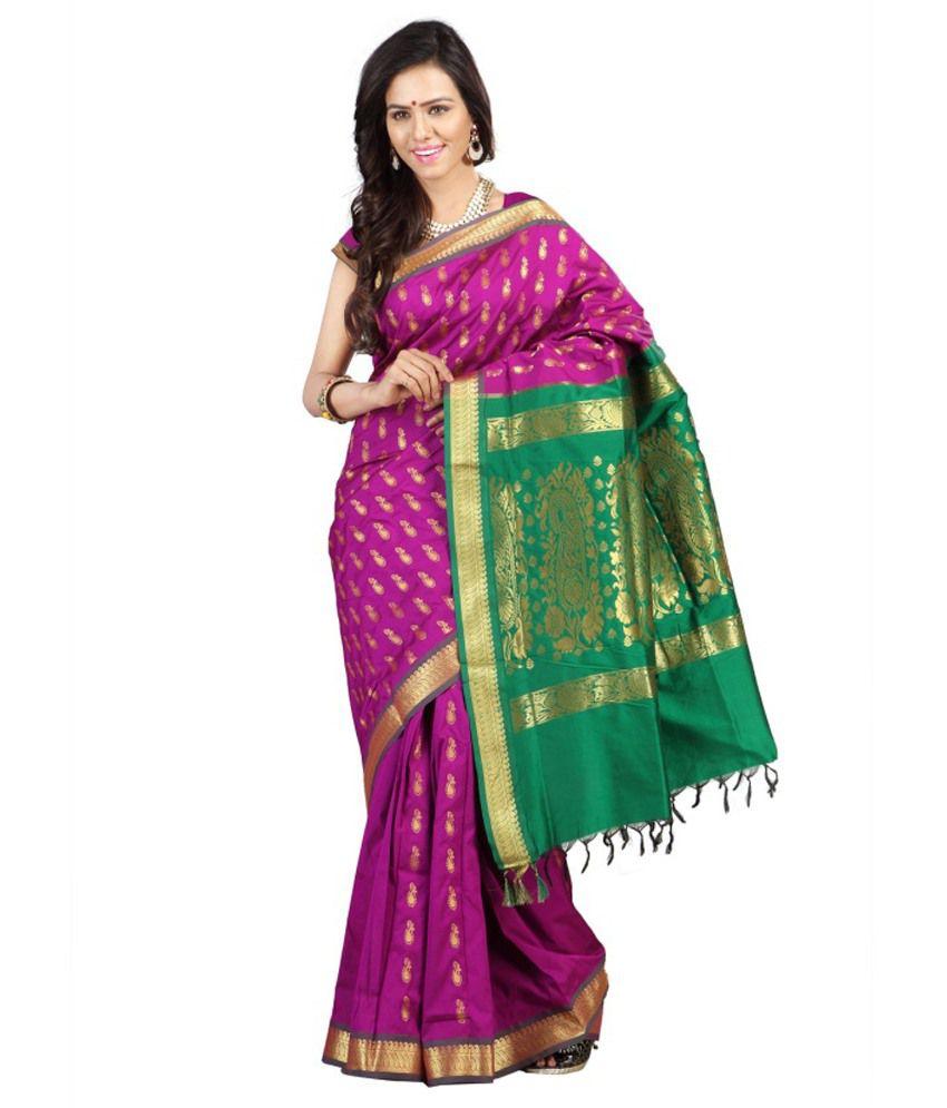 Minaxi Pink Silk Saree