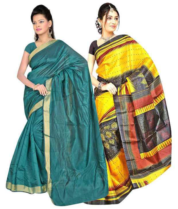 Saibaba Textiles Multi Mysore Silk And Art Silk Pack of 2