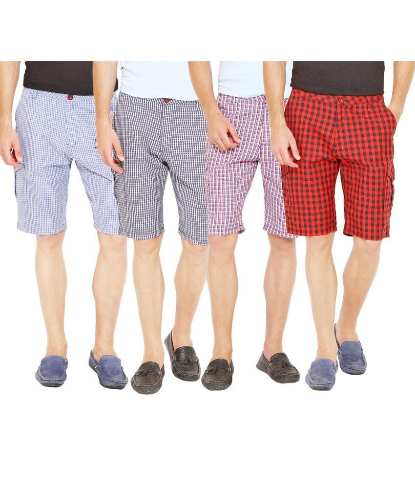 Wajbee Multicolor Cotton Checked Shorts - Pack Of 4