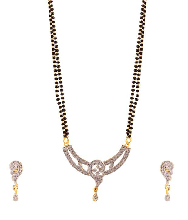 Youbella Designer American Diamond Mangalsutra Set with Chain