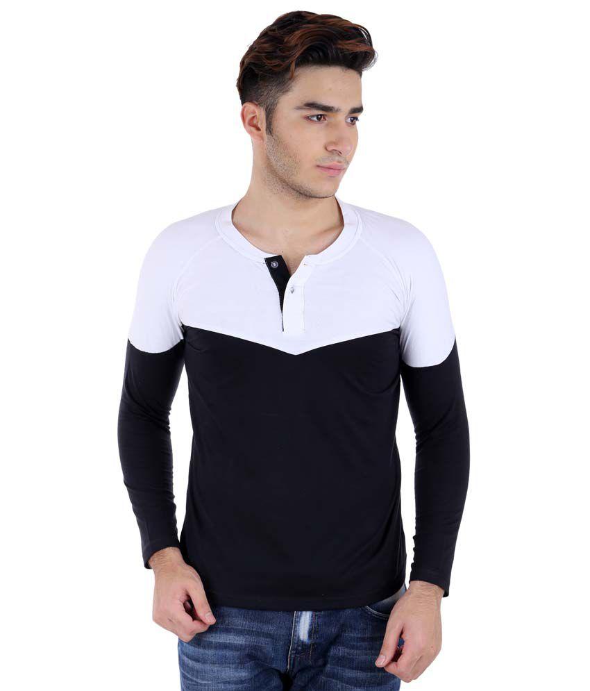 Big Idea Designer White-Black Henely T-Shirt