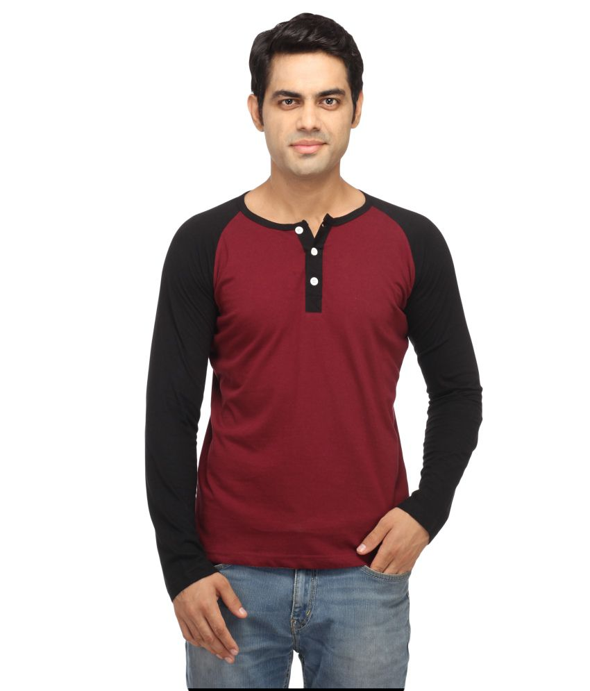 Leana Maroon Cotton T Shirt