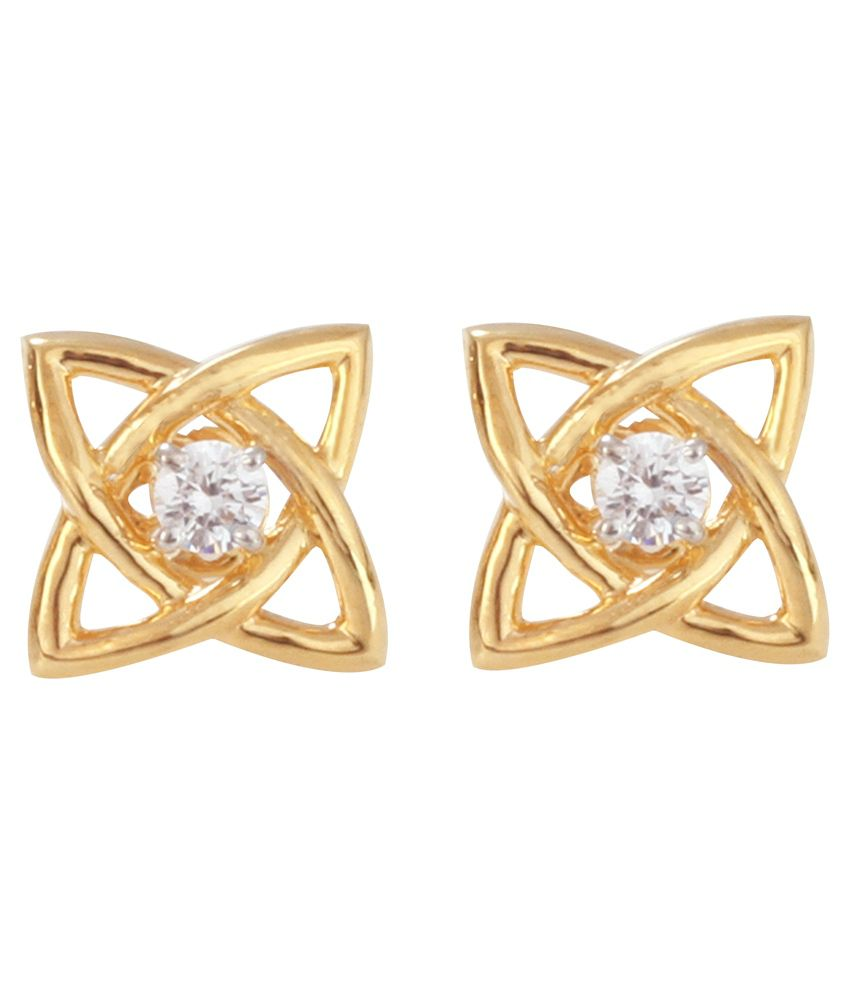 Om Gold 18kt Gold Floral Diamond Stud Earrings