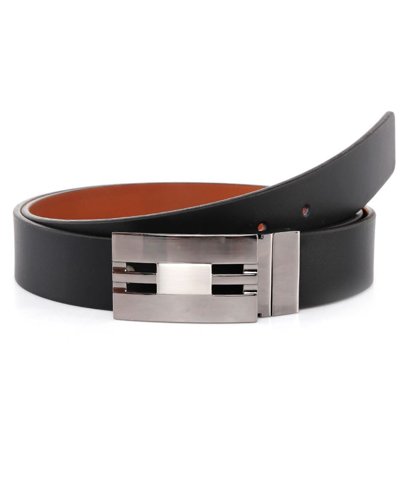 Brahaan Blue Tag Black Leather Belt