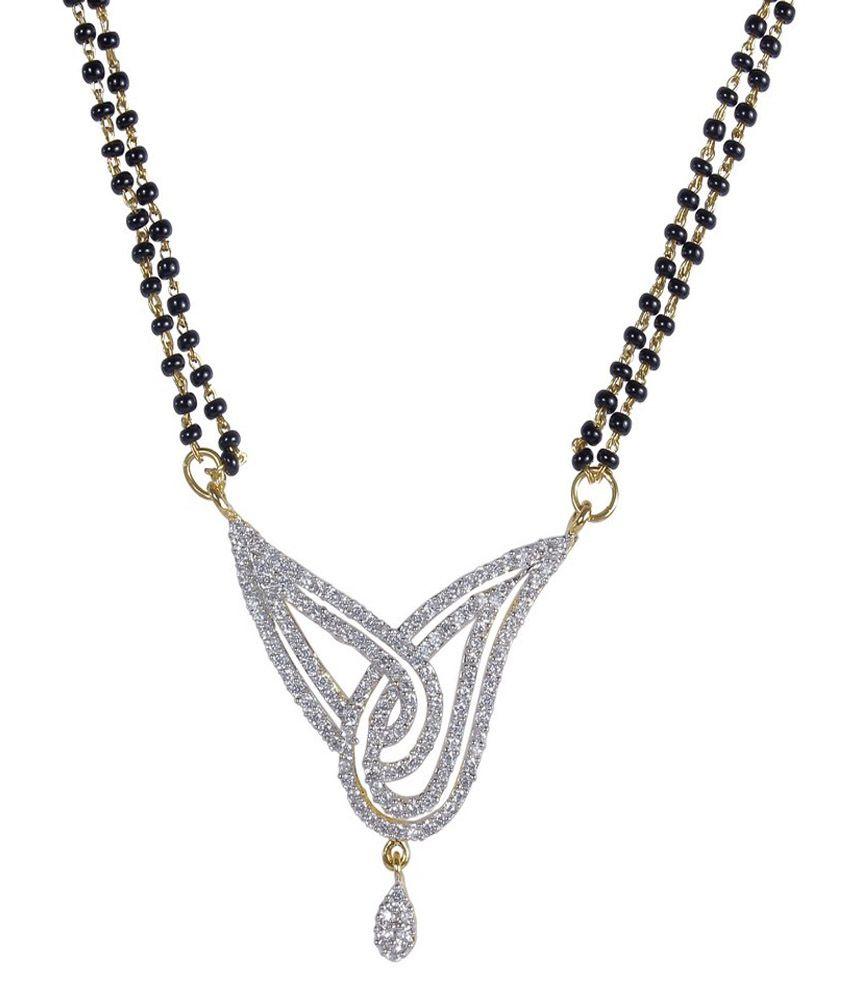 Much More Stunning Fashion Design Gold Tone Black Beads Chain CZ Stone Mangalsutra Wedding Jewelry