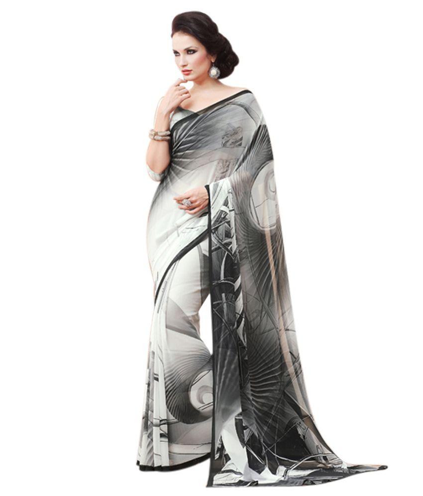 Neerus Black & White Printed Georgette Saree - Buy Neerus Black