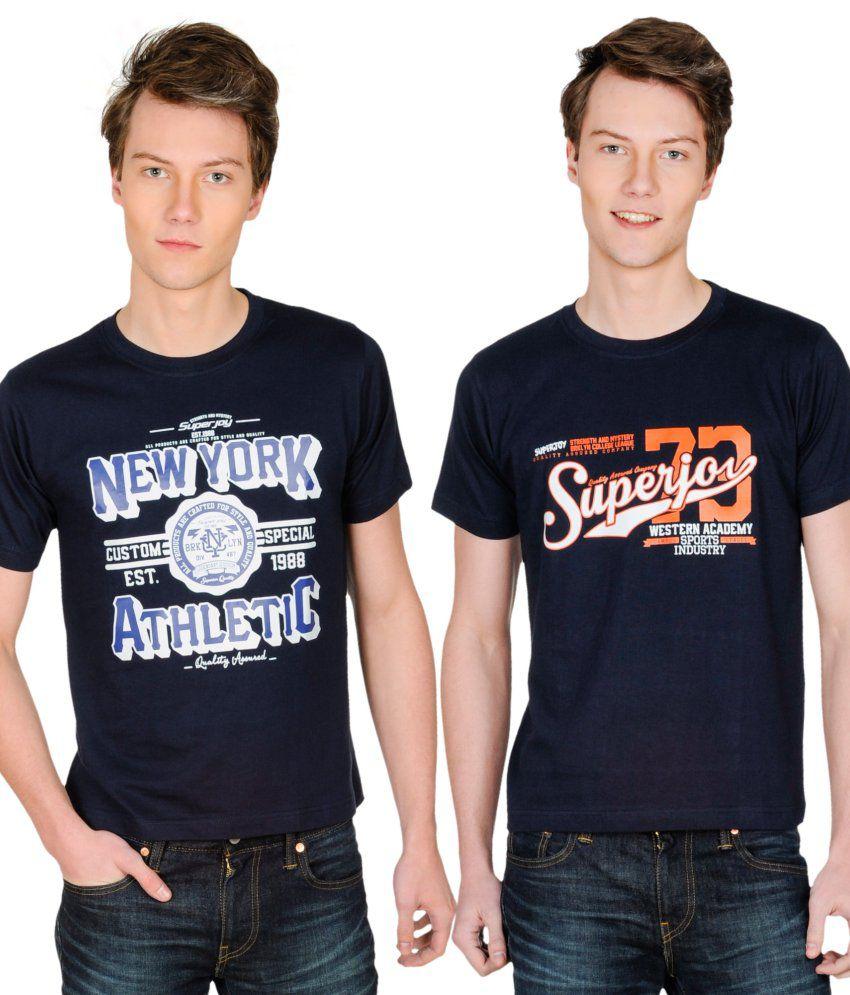 Superjoy Navy Polyester T-shirt - Set Of 2
