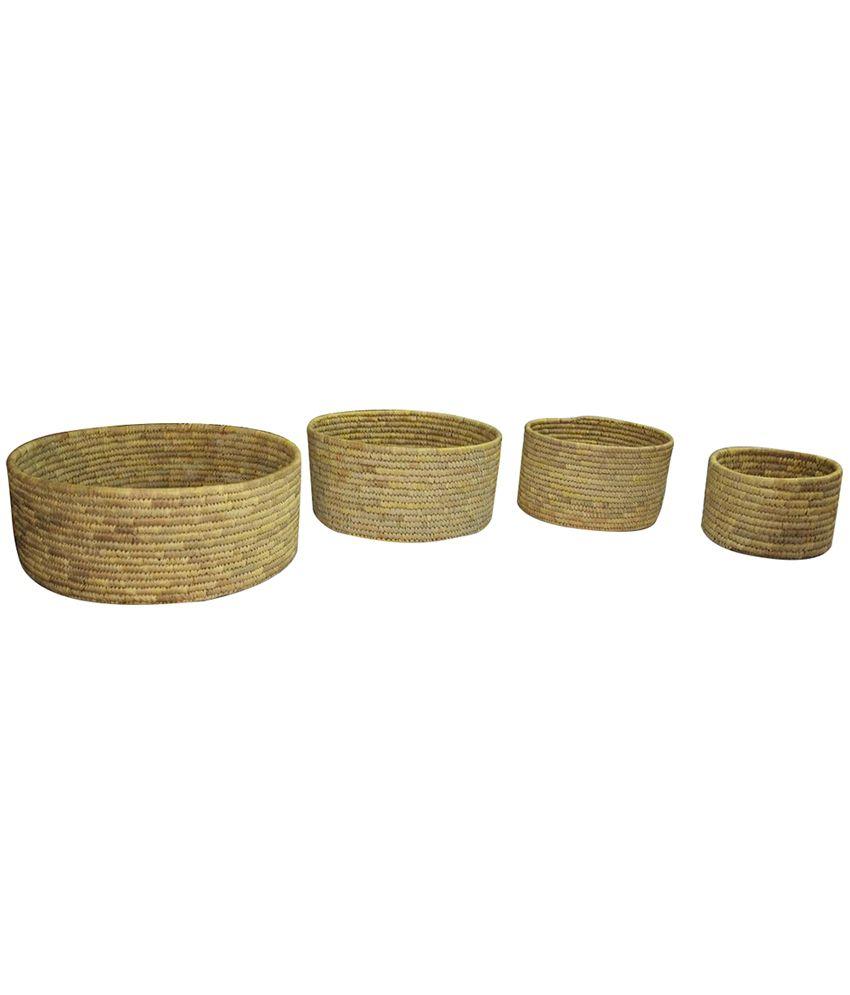 Utkalika Datepalm Basket Set of 4 Pieces- 14 x 6 Inches