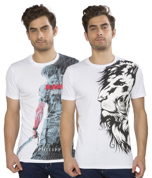 Kkoir White Cotton T Shirts Combo (Pack of 2)