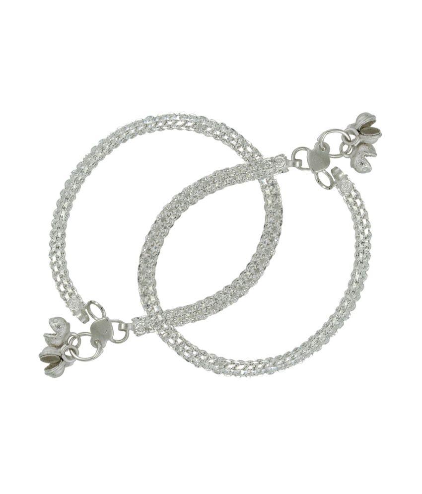 Pehchan Silver German Silver Pair Of Anklets