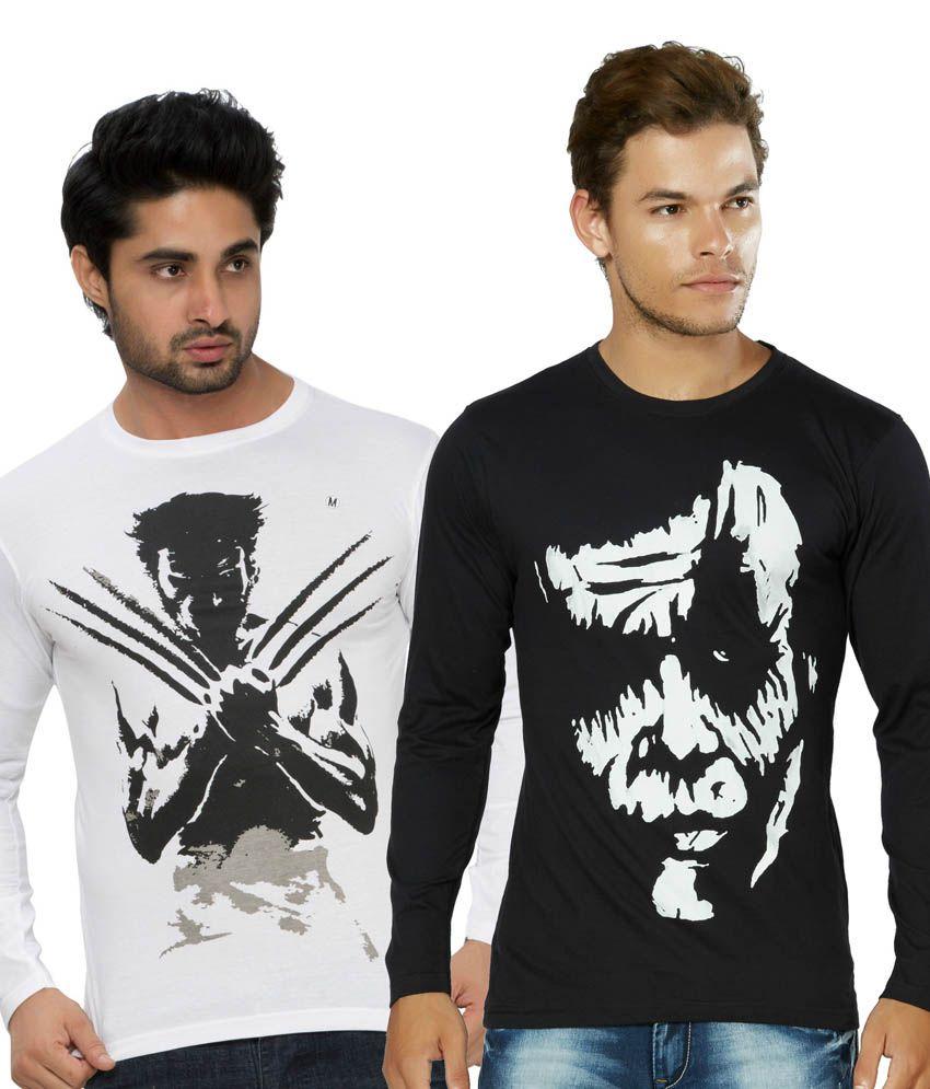 Alan Jones Printed Black Full Tshirt-Pack Of 2
