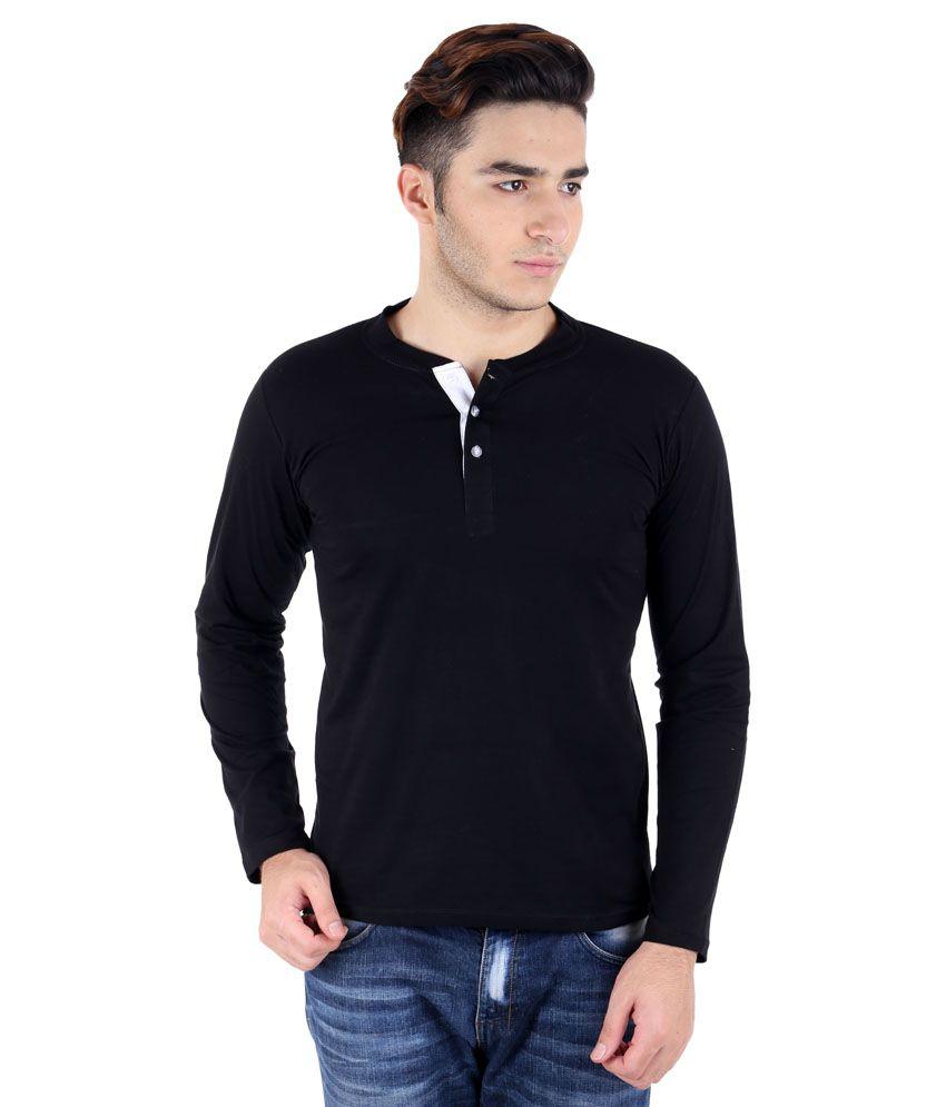 Big Idea Black Cotton Blend Henley T-Shirt