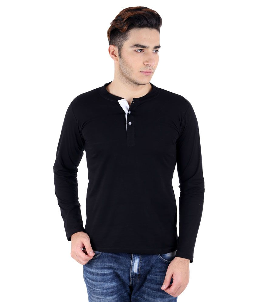 Big Idea Black Cotton Blend Henley T-Shirt
