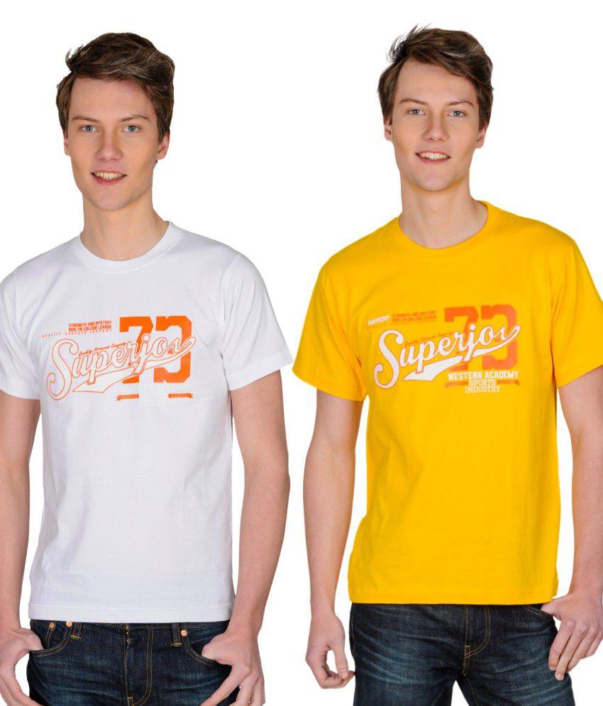 Superjoy White Polyester T-shirt - Set Of 2