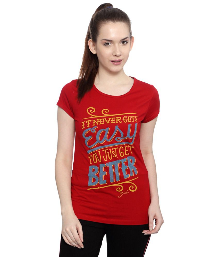 e8289d5af Buy Ajile by Pantaloons Red Active Wear T Shirt Online at Best Prices in  India - Snapdeal