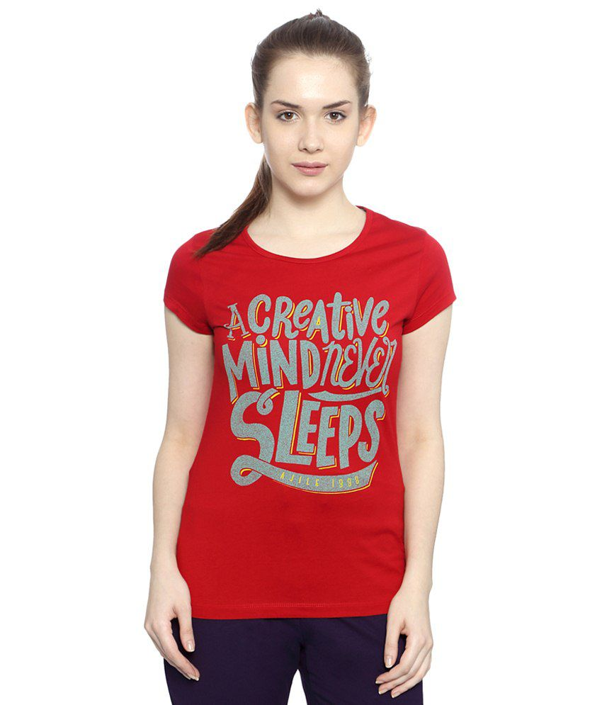 Ajile by Pantaloons Red & Gray Active Wear T Shirt
