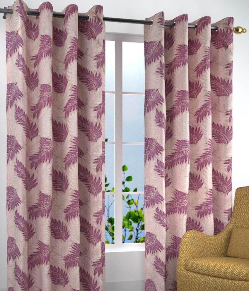 Homefab India Set of 2 Window Eyelet Curtains Floral Purple