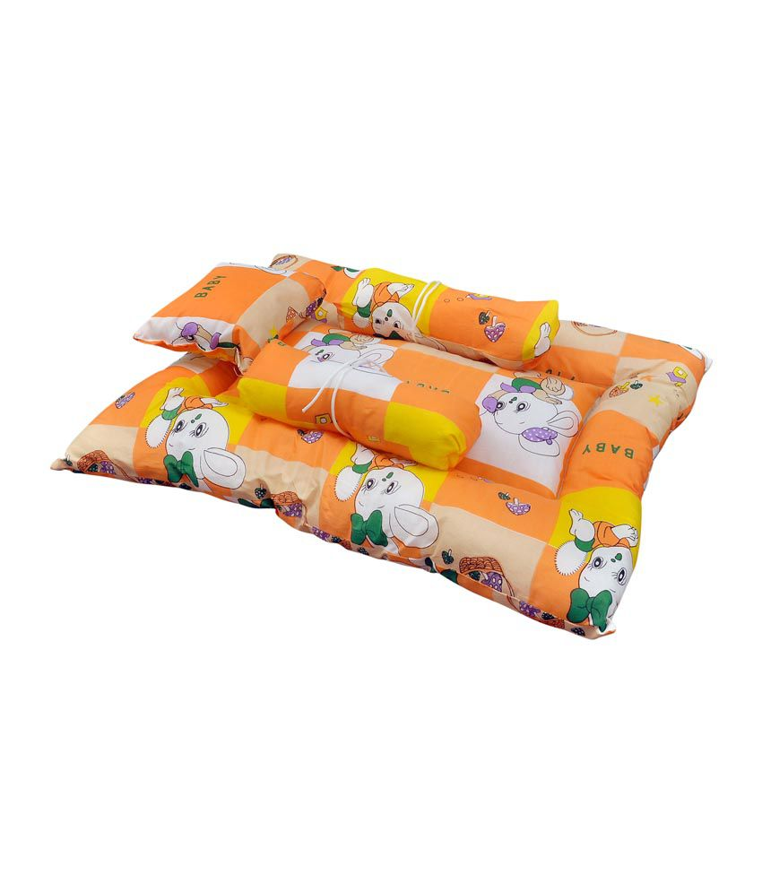 Orange And Orchid Orange Cotton Baby Sleeping Bed