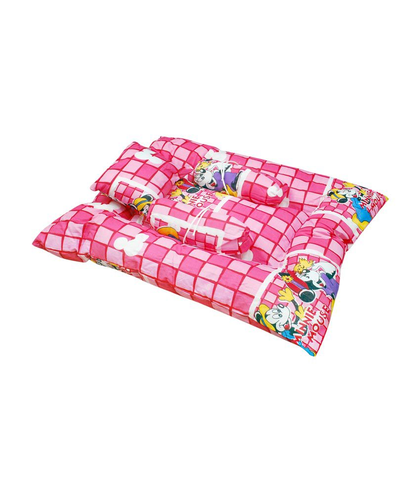 Orange And Orchid Red Cotton Baby Sleeping Bed