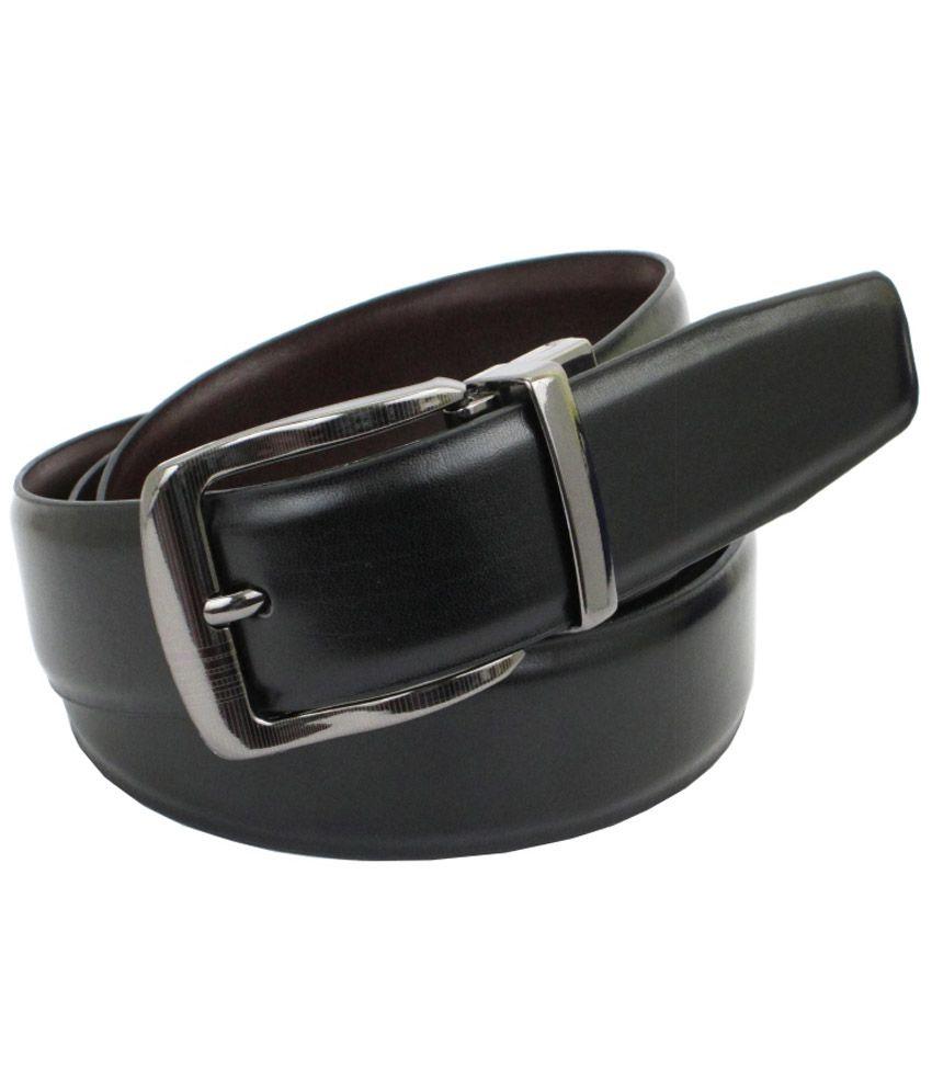 Abhinavs Black Formal Reversible Belt For Men