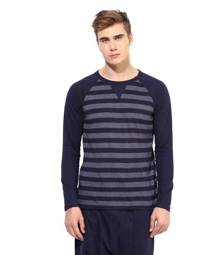 Hypernation Navy Cotton T-shirt