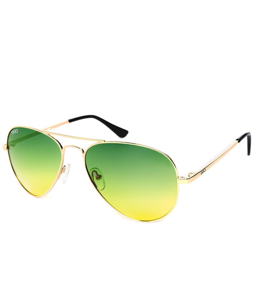Idee Green Medium Unisex Aviator Sunglasses