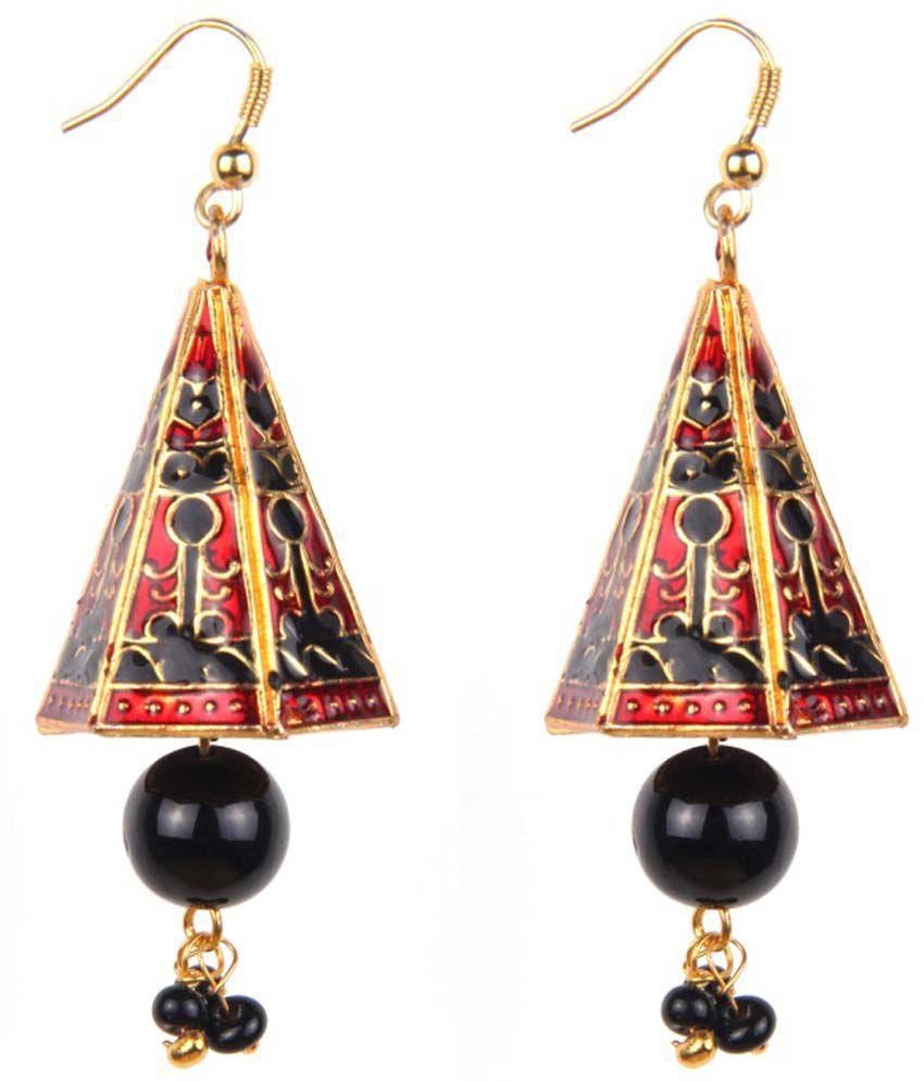 Makezak Golden Brass Hanging Earrings