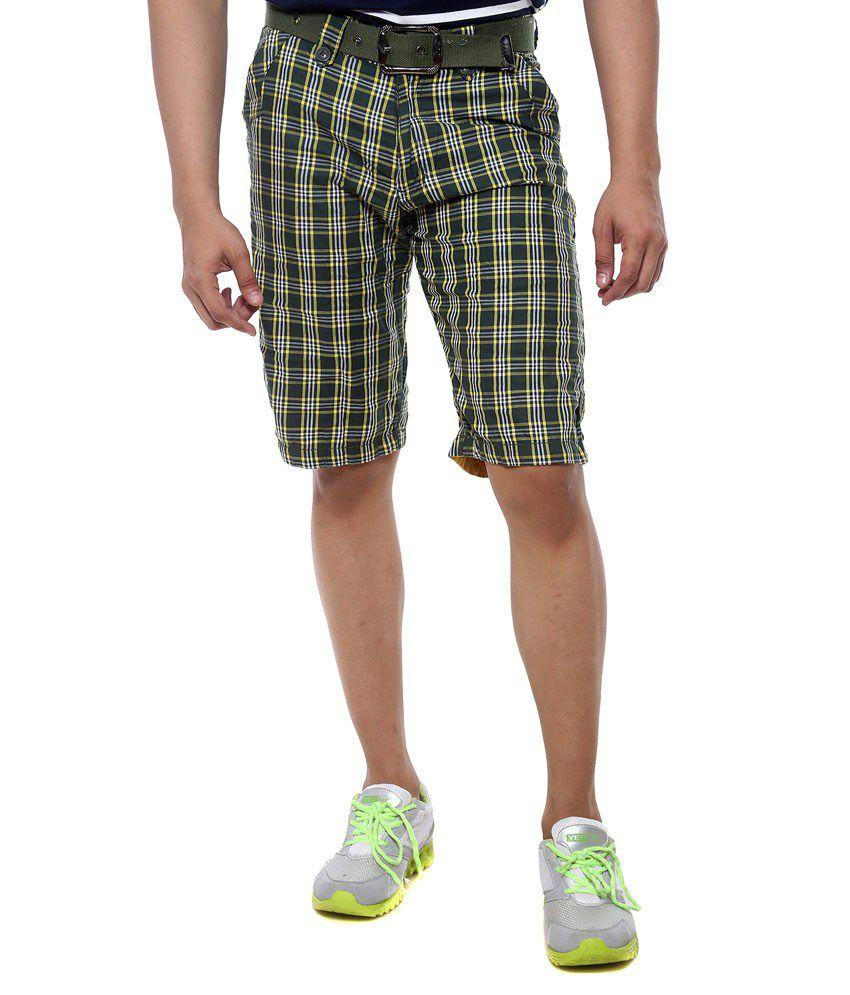 Sports 52 Wear Green Cotton Solids Shorts