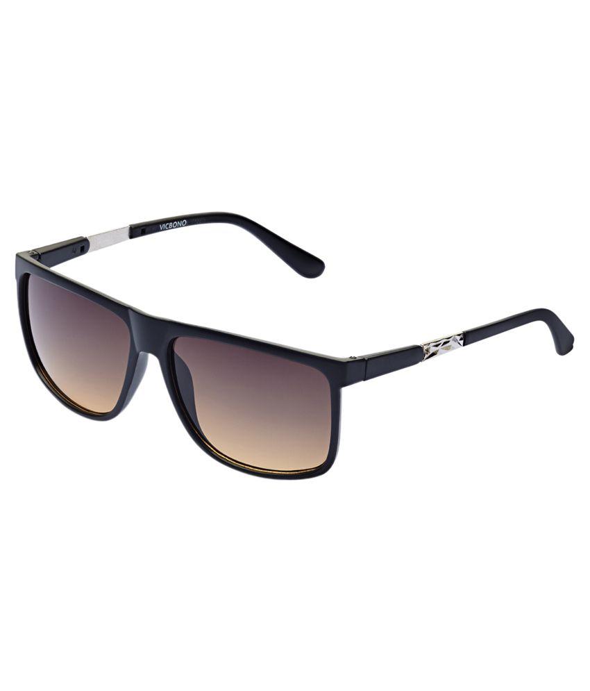 Vicbono Black Frame Brown Lens Rectangle Sunglasses