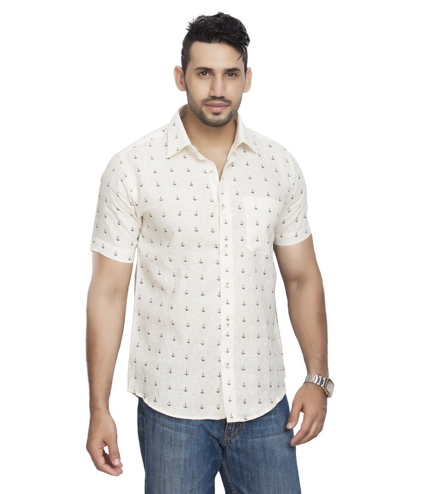 All Seasons Slim Fit White Linen Shirt With Anchor Print Online At Best Prices In India On