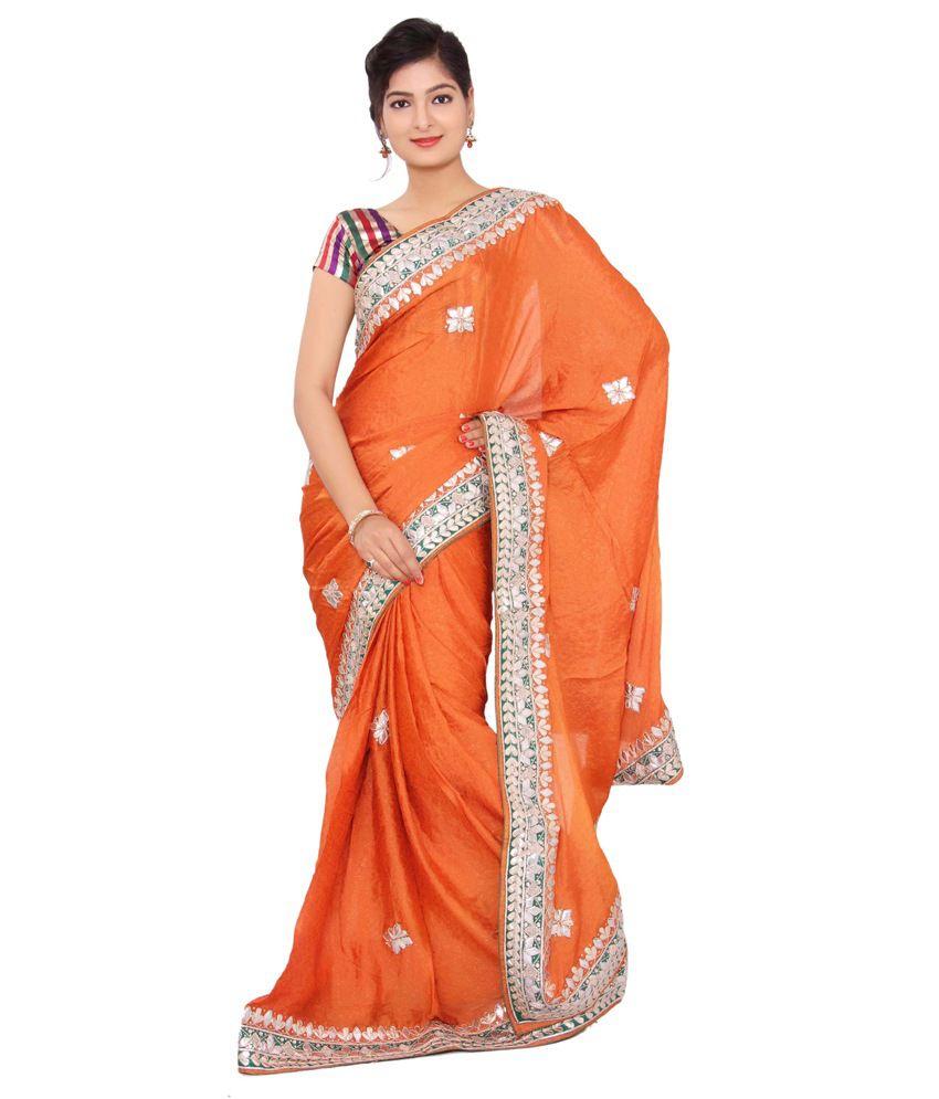 Shri Narayan Fashions Orange Viscose Saree