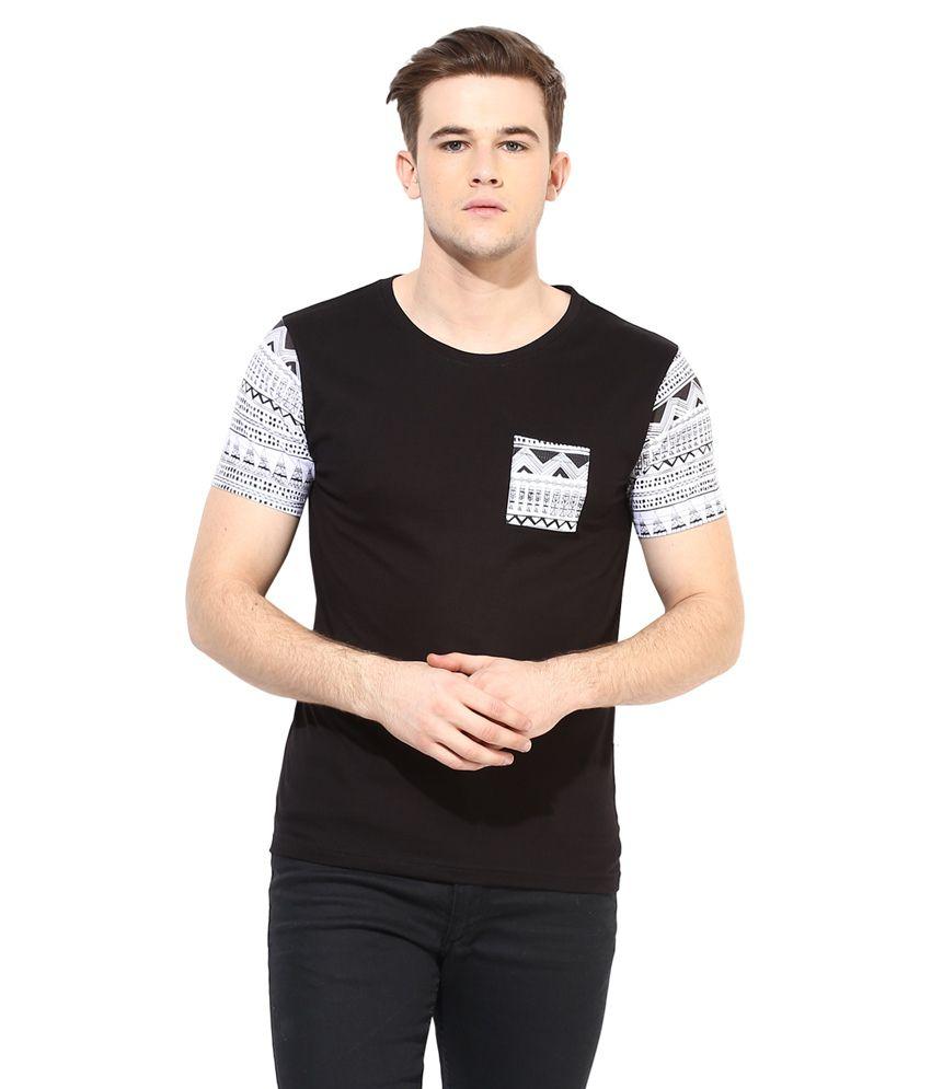 Benoit Black Cotton Round Neck T Shirt