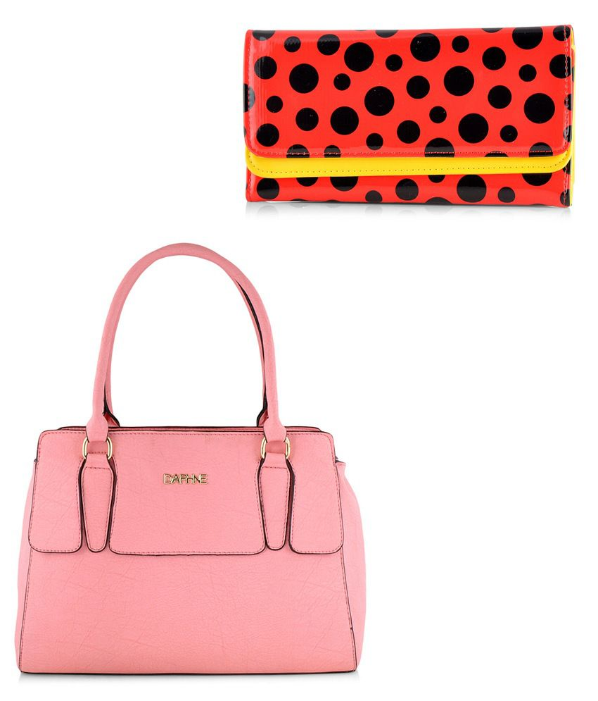 ba04cd2f6faf Daphne Women Pink Handbag and Red Wallet Combo - Buy Daphne Women Pink  Handbag and Red Wallet Combo Online at Best Prices in India on Snapdeal