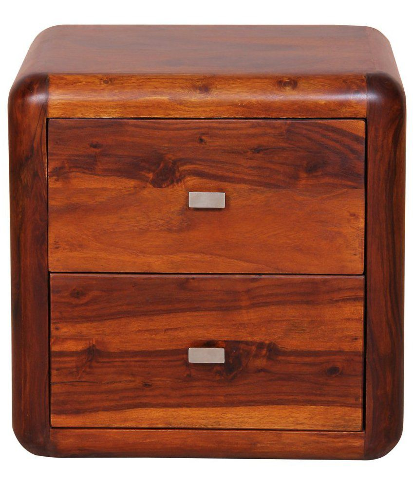 Solid Wood Bed Side Table with 2 Drawers