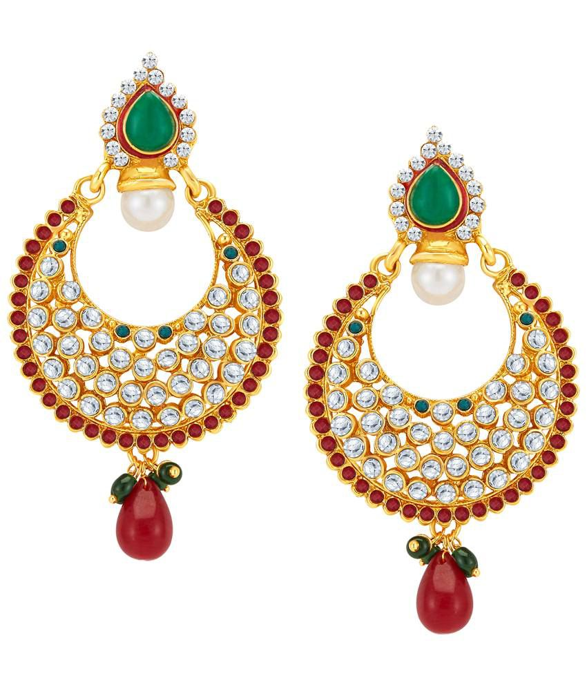 Sukkhi Gold Plated CZ Hanging Earrings