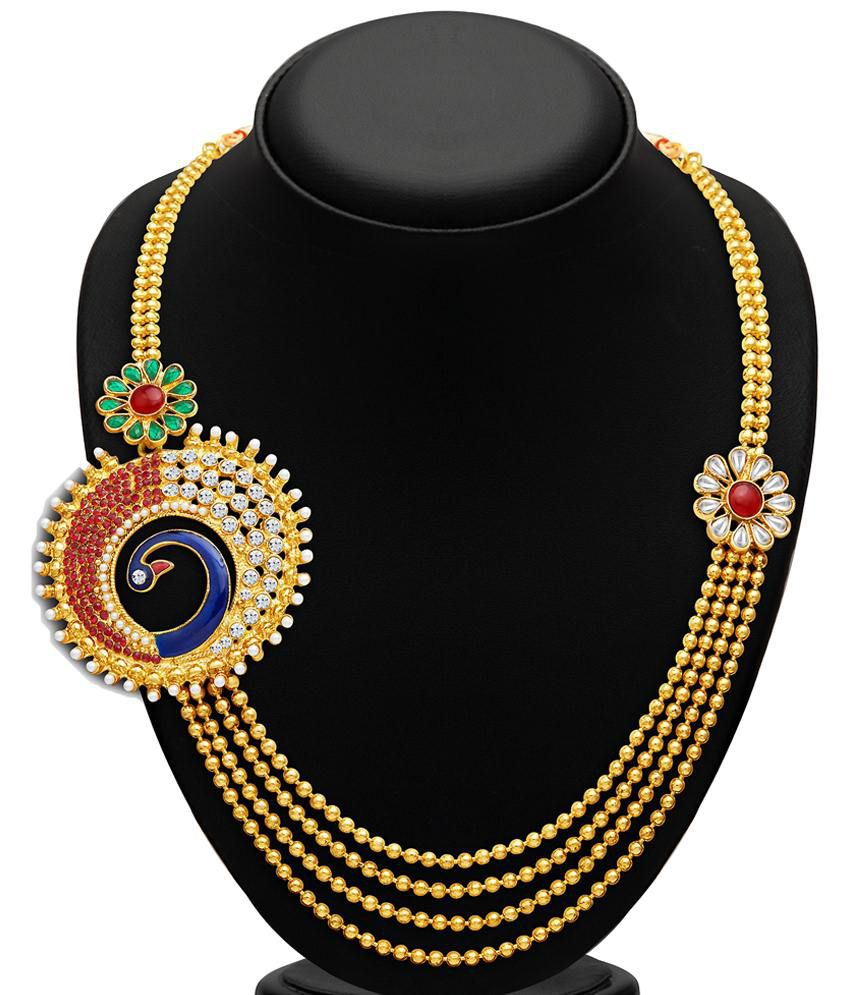 Sukkhi Gold Plated Four Strings AD Necklace Set