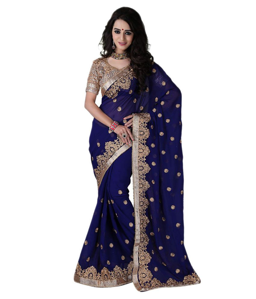 ee2bae5f1 Bunny Sarees Blue and Grey Georgette Saree - Buy Bunny Sarees Blue and Grey  Georgette Saree Online at Low Price - Snapdeal.com