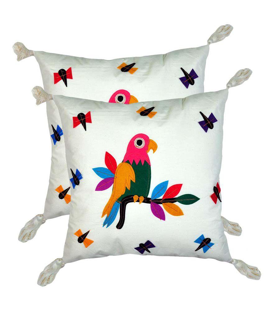 Craftghar Multicolor Cotton Cushion Cover