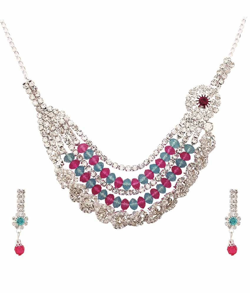 Faastdeal Multicolor Alloy Austrian Diamond Necklace Set