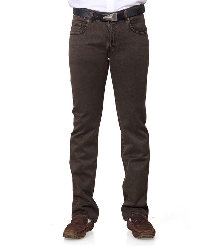 JMD Brown Cotton Regular Fit Jeans