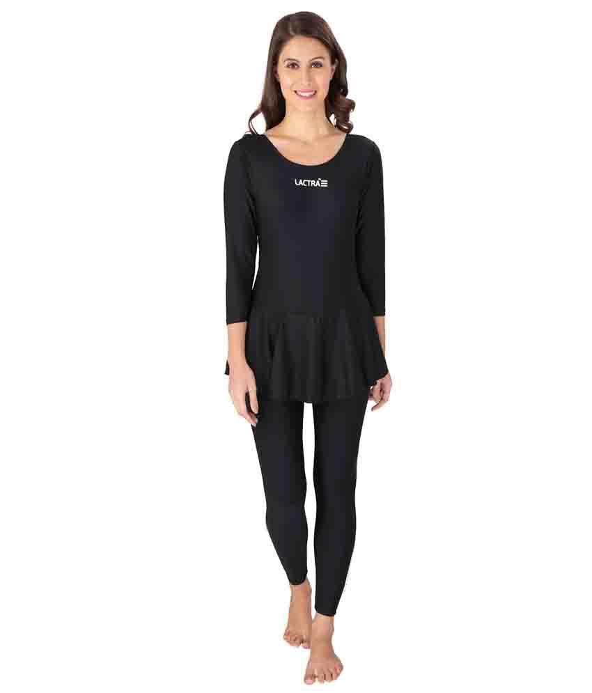 Lactra Black Nylon Female Swimwear/ Swimming Costume