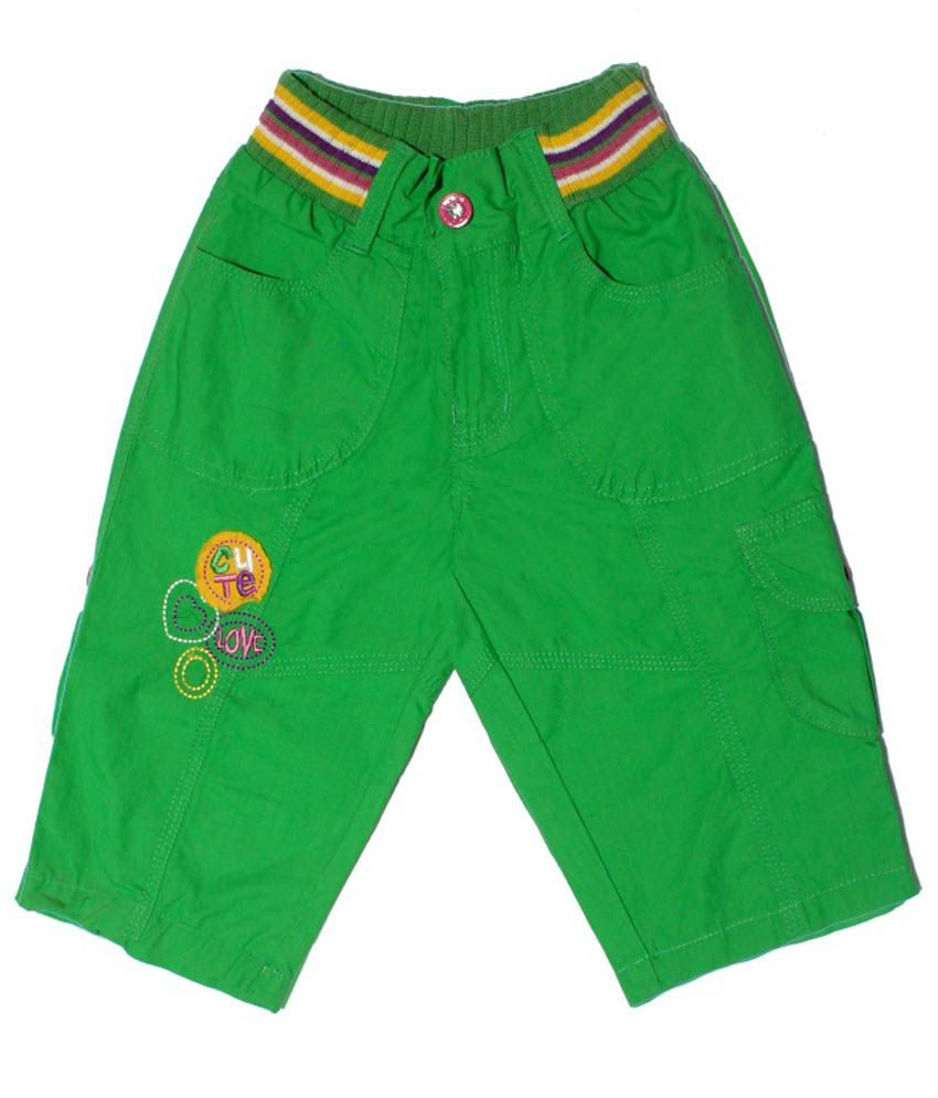 N-XT GIRLS Green Cotton Capri